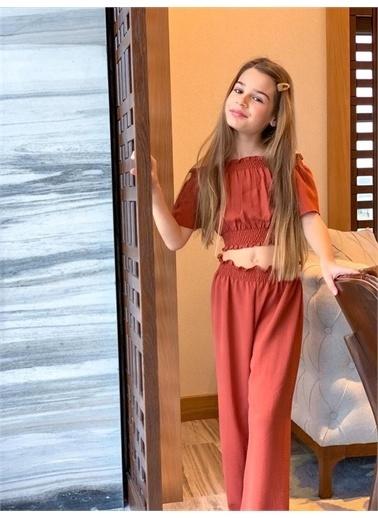 Hilal Akıncı Kids Kiz Çocuk Gıpelı Crop Pantolon Bluz Toka Üçlü Takim Oranj